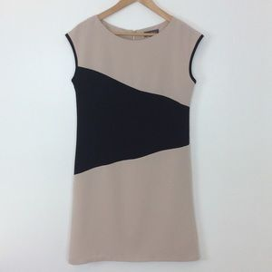 Luxology  Tan and Black Sleeveless Shift Dress